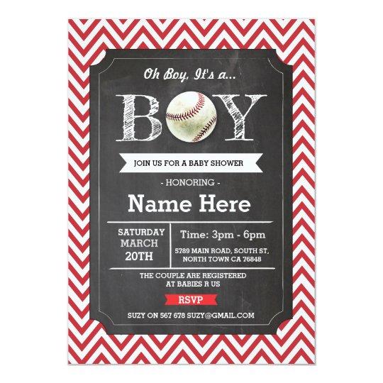 Baseball Red Boy Baby Shower Chevron Invite