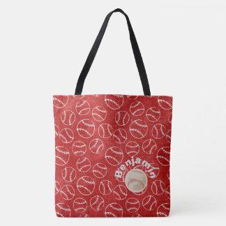 Baseball Red  Over All Print Bag