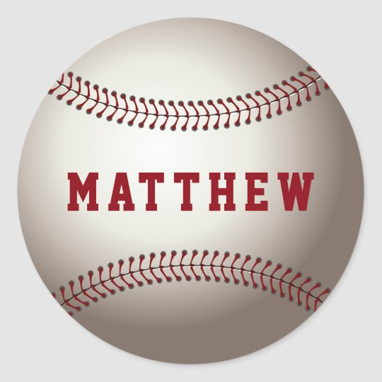 Baseball Red Personalised Name Classic Round Sticker