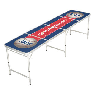 Baseball Red White Blue Add Your Own Slogan Names Beer Pong Table