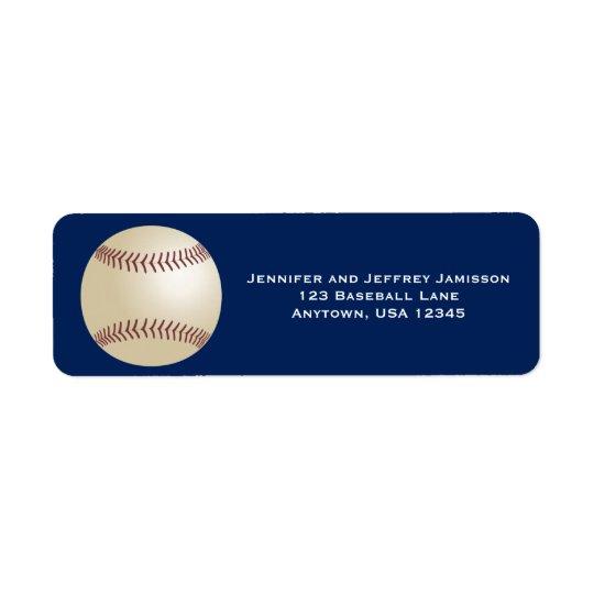 Baseball Return Address Labels on Dark Blue