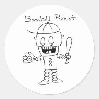 Baseball Robot Round Sticker