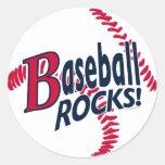 Baseball Rocks by Mudge Studios Classic Round Sticker