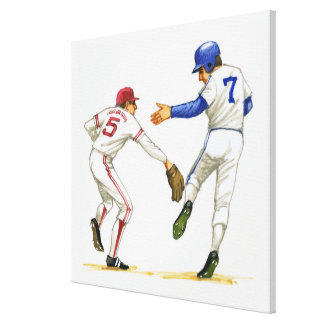 Baseball runner and fielder at a base stretched canvas print