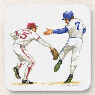 Baseball runner and fielder at a base coaster