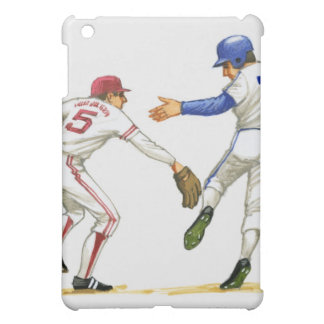 Baseball runner and fielder at a base cover for the iPad mini