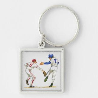 Baseball runner and fielder at a base key chain