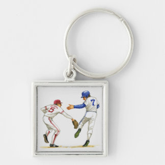Baseball runner and fielder at a base Silver-Colored square key ring