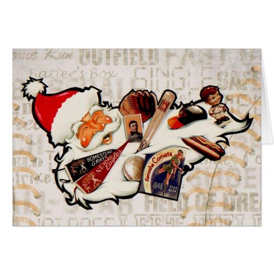 Baseball Santa Claus Christmas Card