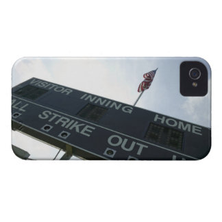 Baseball scoreboard with American flag iPhone 4 Cases