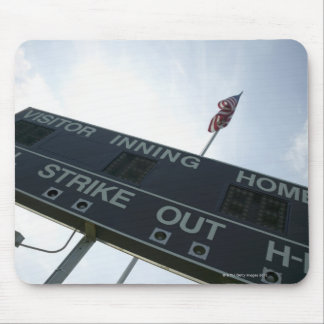 Baseball scoreboard with American flag Mouse Pad