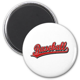 Baseball  script logo in red fridge magnet