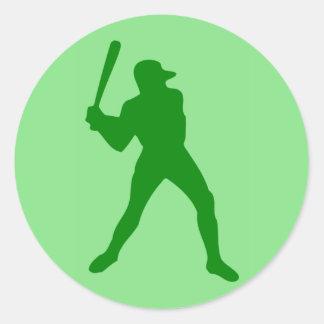 baseball silhouette round sticker