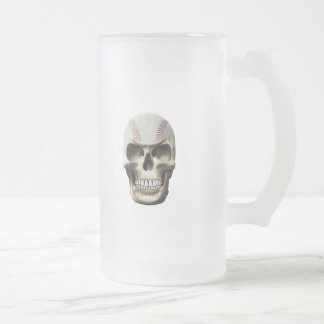 Baseball Skull Frosted Glass Beer Mug