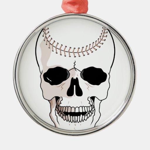 baseball skull head christmas tree ornament