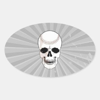 baseball skull head oval sticker