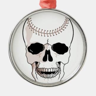 baseball skull head Silver-Colored round decoration