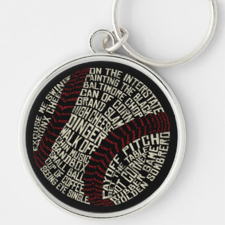 Baseball Slang Words Calligram Key Ring