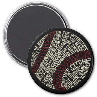 Baseball Slang Words Calligram Magnet