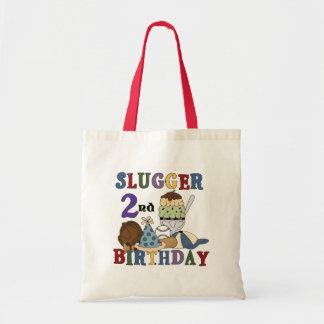 Baseball Slugger 2nd Birthday tshirts and Gifts Budget Tote Bag