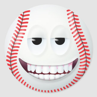 Baseball Smiley Face 2 Round Sticker