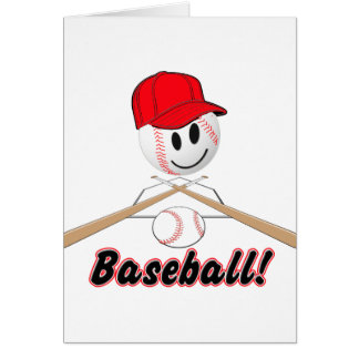 BASEBALL SMILEY FACE WITH HAT GREETING CARD