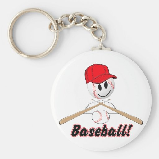 BASEBALL SMILEY FACE WITH HAT KEYCHAIN