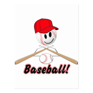 BASEBALL SMILEY FACE WITH HAT POSTCARD