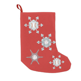 Baseball Snowflake Small Christmas Stocking