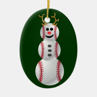 Baseball Snowman Christmas Ornament