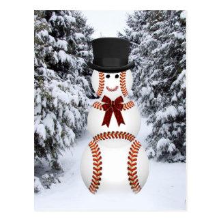 Baseball Snowman Postcard