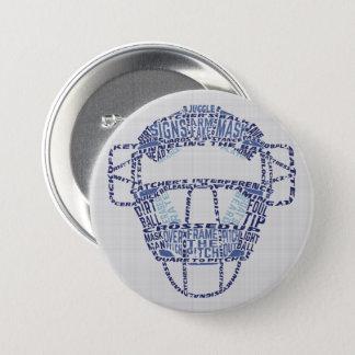 Baseball Softball Catchers Mask Calligram Badge
