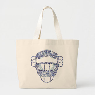 Baseball Softball Catchers Mask Calligram Large Tote Bag