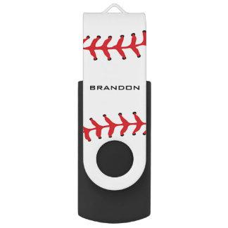 Baseball Softball Design Flash Drive Swivel USB 2.0 Flash Drive