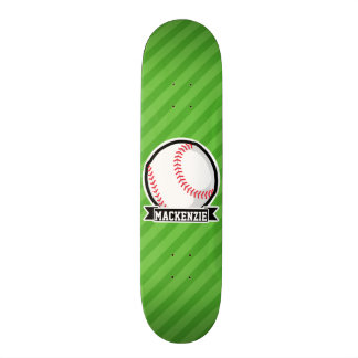 Baseball, Softball; Green Stripes Custom Skate Board