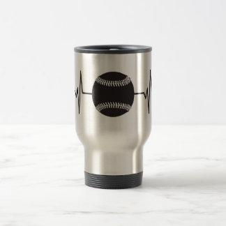 Baseball / Softball - Heartbeat Pulse Travel Mug