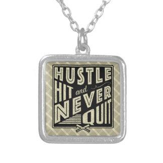 Baseball Softball Hustle, Hit Never Quit Necklace