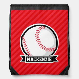 Baseball, Softball; Red Diagonal Stripes Drawstring Bag