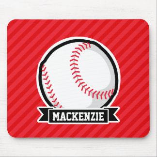 Baseball, Softball; Red Diagonal Stripes Mousepad