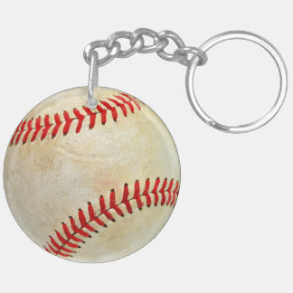 Baseball sport ball game play dirty old Double-Sided round acrylic key ring
