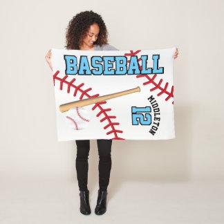 Baseball Sport in Baby Blue Fleece Blanket