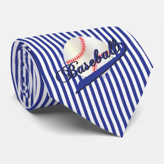 Baseball Sport in Dark Blue and White Stripes Tie