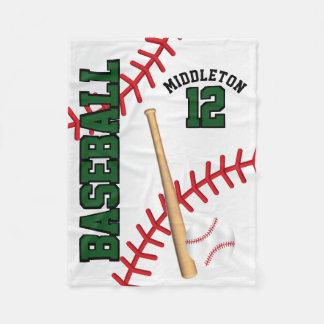 Baseball Sport in Dark Green Fleece Blanket