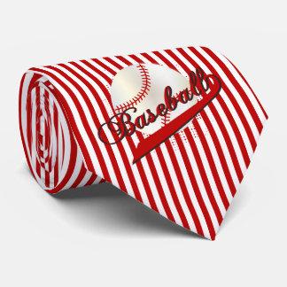 Baseball Sport in Dark Red and White Stripes Tie