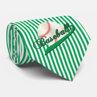 Baseball Sport in Green and White Stripes Tie
