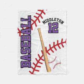 Baseball Sport in Purple Fleece Blanket