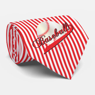 Baseball Sport in Red and White Stripes Tie