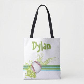 Baseball Sports Ball Game Personalized Name Tote Bag