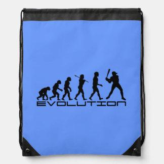 Baseball Sports Blue Drawstring Backpacks