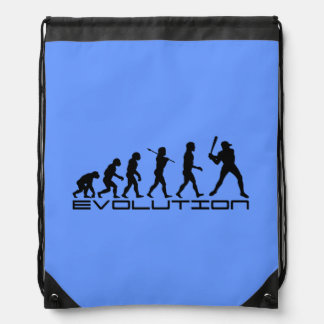 Baseball Sports Blue Drawstring Backpack